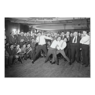 Jack Dempsey Mock Fighting Against Harry Houdini 3.5x5 Paper Invitation Card