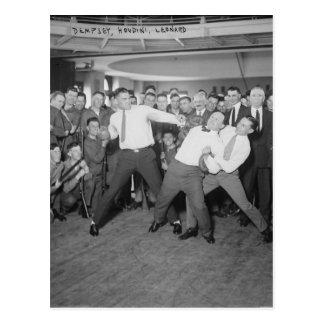 Jack Dempsey Mock Fighting Against Harry Houdini Postcards