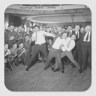 Jack Dempsey Mock Fighting Against Harry Houdini Square Sticker