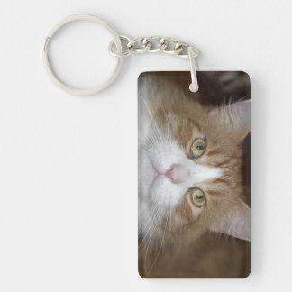 Jack domestic orange and white maine coon cat keychain