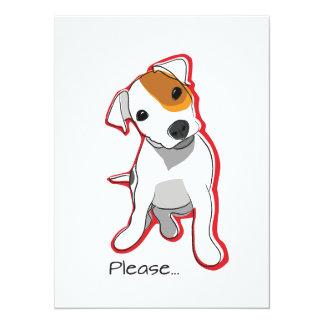 """Jack dulce Russell Terrier carda """"por favor"""" Invitación 5.5"""" X 7.5"""""""