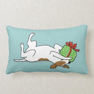 Jack feliz Russell Terrier con el regalo del navid Cojin