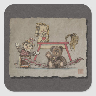 Jack In The Box, caballo y oso Pegatina Cuadrada