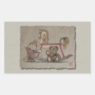 Jack In The Box, caballo y oso Pegatina Rectangular