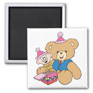 jack in the box teddy bear design 2 inch square magnet