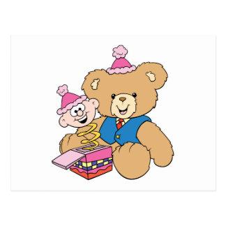 jack in the box teddy bear design postcard