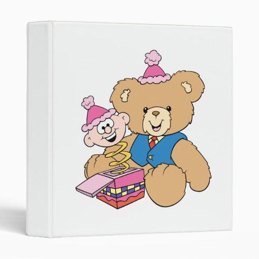 jack in the box teddy bear design vinyl binder