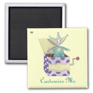 Jack-in-the-Box - Traditional Toys (pastel) 2 Inch Square Magnet