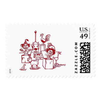 Jack in the Boxes, Birds and Cow Stamp