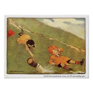 Jack & Jill Fell Down The Hill Nursery Rhyme Poster