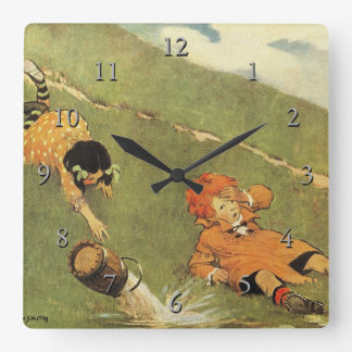 Jack & Jill Fell Down The Hill Nursery Rhyme Square Wall Clock