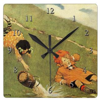 Jack & Jill Fell Down The Hill Nursery Rhyme Square Wall Clock