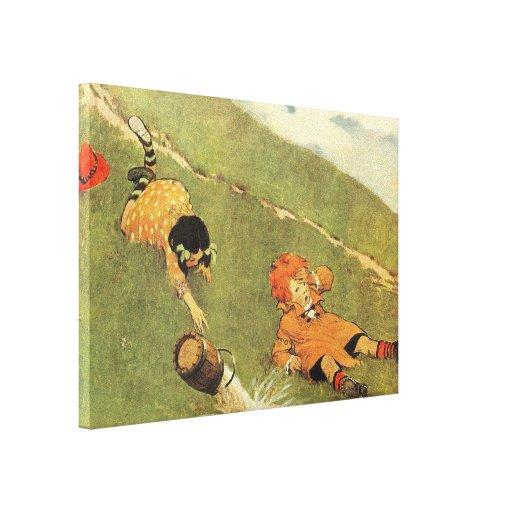 Jack & Jill Nursery Rhyme Stretched Canvas Print