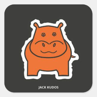 Jack Kudos Dark Grey Square Sticker