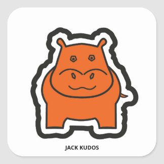 Jack Kudos White Square Sticker
