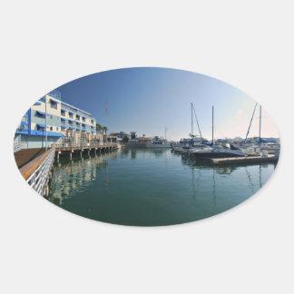 Jack London Square Marina Panorama Oval Sticker
