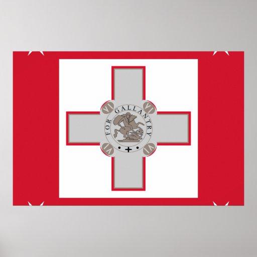 Jack naval bandera de Malta, Maldivas Póster