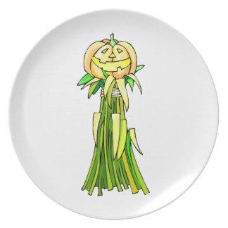 Jack o lanter corn stalk party plates