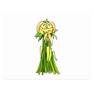 Jack o lanter corn stalk postcard