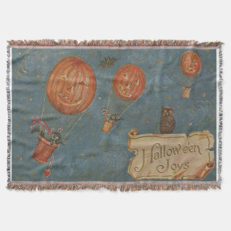 Jack O' Lantern Air Balloon Black Cat Owl Throw Blanket