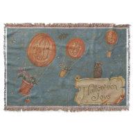 Jack O' Lantern Air Balloon Black Cat Owl Throw Blanket