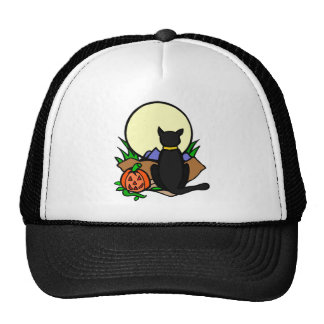 Jack o lantern and Black Cat Trucker Hats