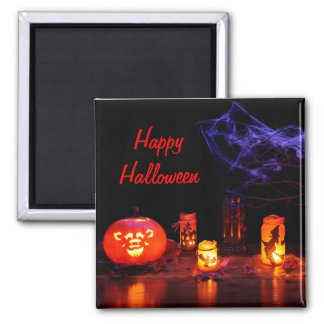 Jack-O-Lantern And Candles Magnet