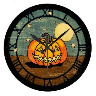Jack O Lantern And Moon Large Clock