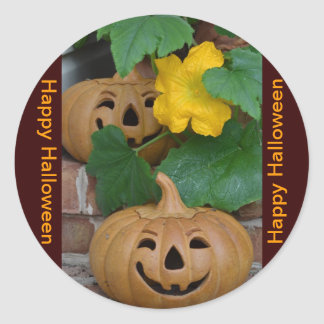 Jack-O-Lantern and Pumpkin Flowers Classic Round Sticker