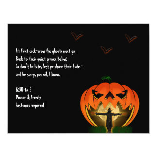 Jack o Lantern and Scarecrow Halloween Invitation