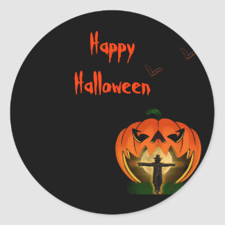 Jack o Lantern and Scarecrow Halloween Classic Round Sticker