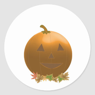 Jack O Lantern atop Leaves Classic Round Sticker