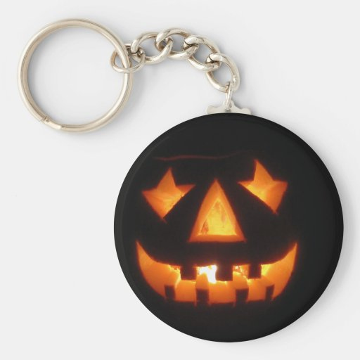 Jack-o'-lantern Basic Round Button Keychain
