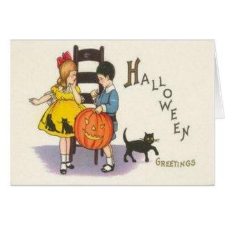 Jack O Lantern Black Cat Children Card