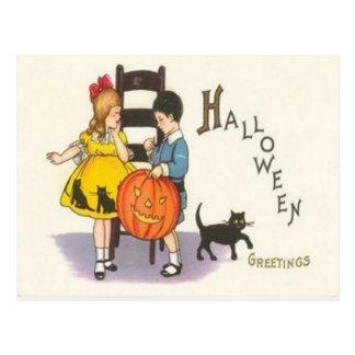Jack O Lantern Black Cat Children Postcard
