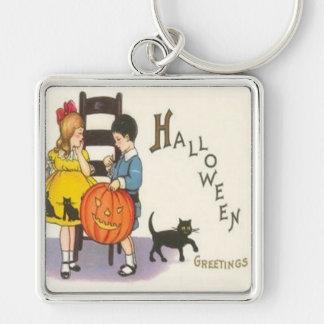 Jack O Lantern Black Cat Children Silver-Colored Square Keychain