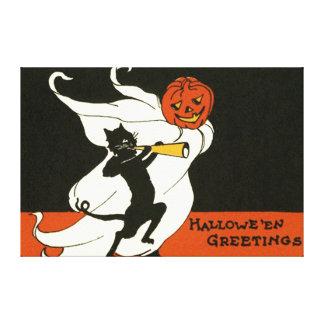 Jack O' Lantern Black Cat Ghost Horn Canvas Print