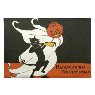 Jack O' Lantern Black Cat Ghost Horn Cloth Placemat