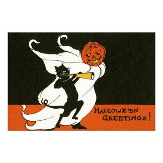 Jack O' Lantern Black Cat Ghost Horn Photo Print