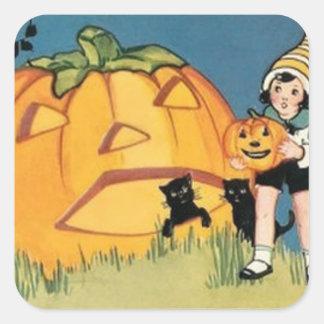 Jack O Lantern Black Cat Square Sticker