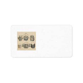 Jack O' Lantern Black Cat Vintage Lanterns Label