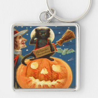Jack O Lantern Black Cat Witch Bat Keychain