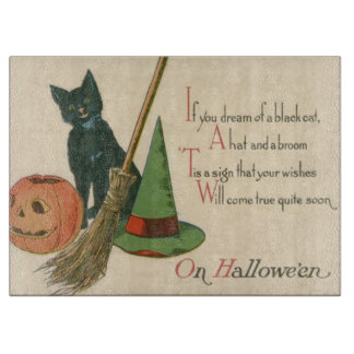 Jack O' Lantern Black Cat Witch's Hat Broom Cutting Board