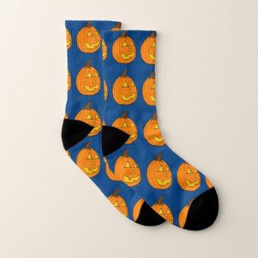 Halloween Themed Jack o' Lantern Blue Socks