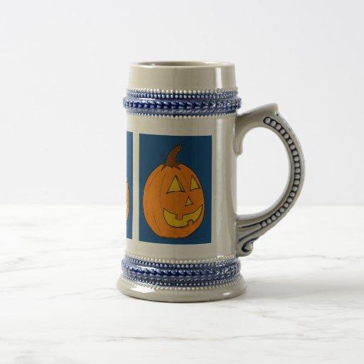 Jack o' Lantern Blue Stein Coffee Mugs