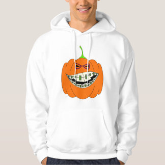 Jack-O-Lantern Braces Orthodontics Geek Nerd Glass Hoodie