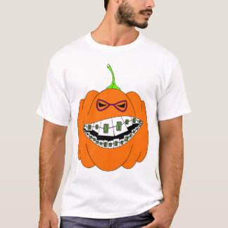 Jack-O-Lantern Braces Orthodontics Geek Nerd Glass T-Shirt