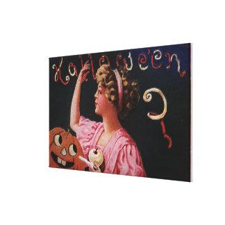 Jack-O-Lantern by Woman Peeling Apple Canvas Print