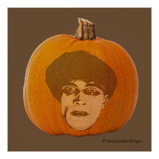Jack o' Lantern Caligari Face, Halloween Pumpkin Poster