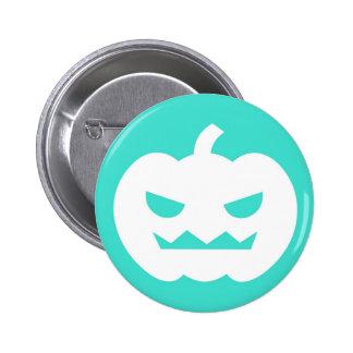Jack O Lantern Cartoon Turquoise Button